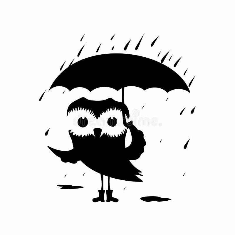 kreskówki dowódcy pistolet żołnierza jego ilustracyjny stopwatch Słodka sowa z parasolem w deszczu royalty ilustracja