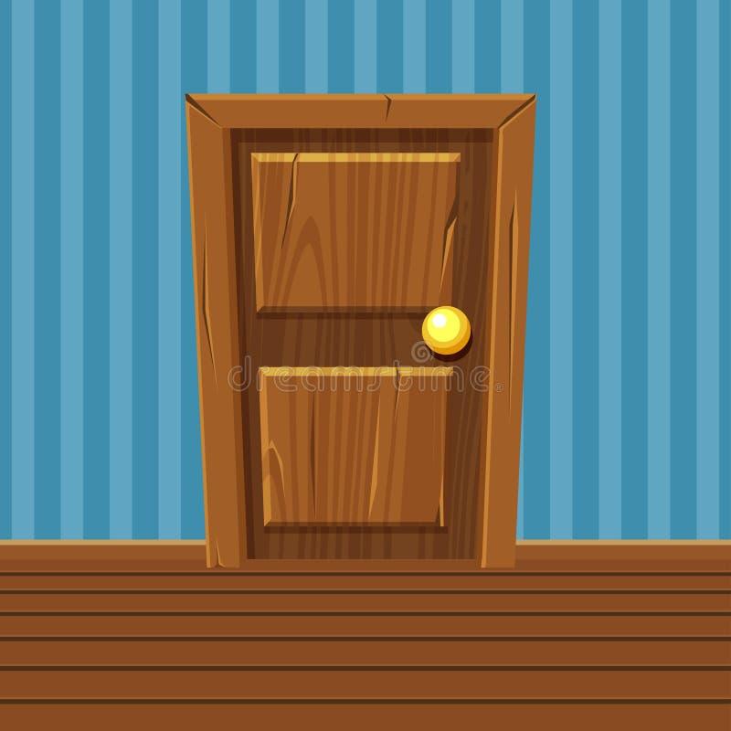 Kreskówki Drewniany drzwi, Domowy wnętrze royalty ilustracja