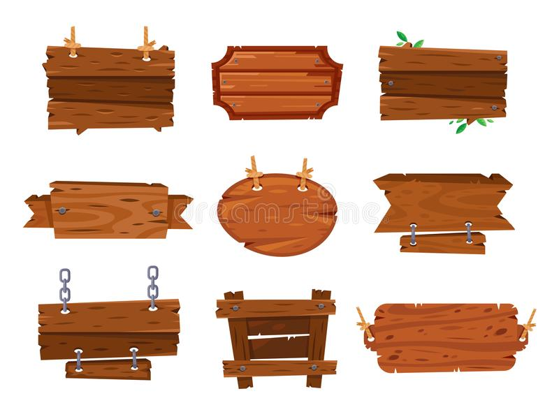 Kreskówki drewno wsiada znaki i brązów drewnianych sztandary Szalunku talerza deska, kreskówki kreśli desek znak odizolowywać ram royalty ilustracja