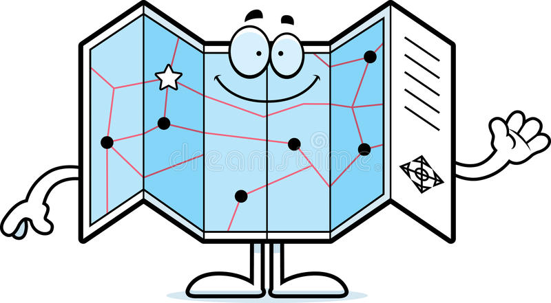 Kreskówki Drogowej mapy falowanie ilustracja wektor