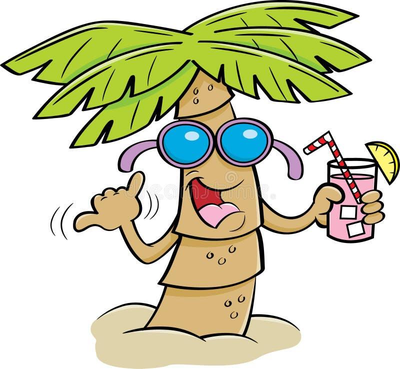 Kreskówki drzewko palmowe Jest ubranym okulary przeciwsłonecznych i Trzyma napój ilustracji