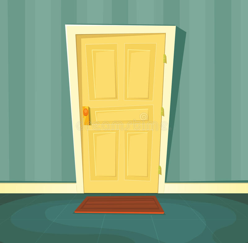 kreskówki drzwi przód ilustracja wektor