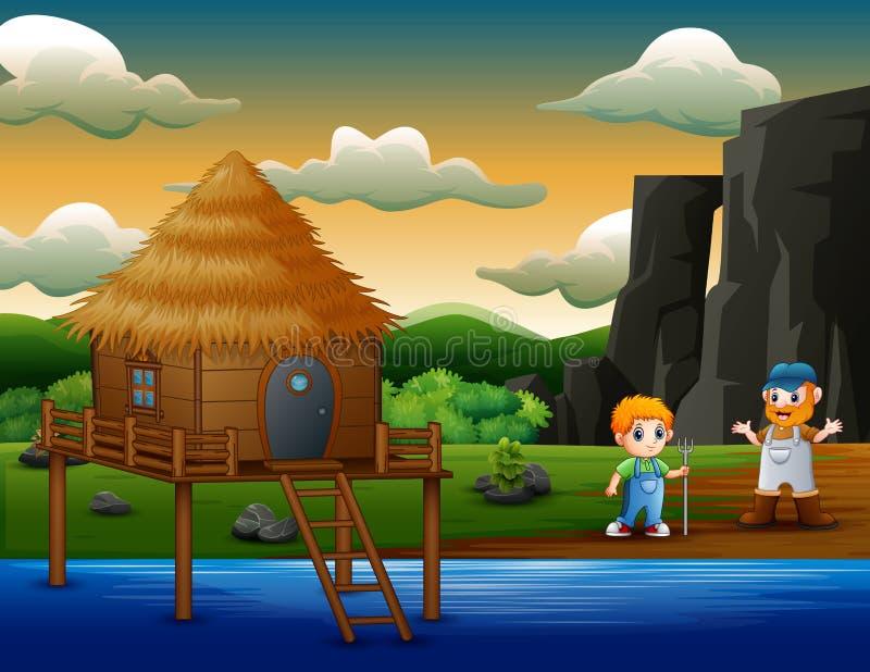 Kreskówki dwa średniorolne chłopiec rzeką royalty ilustracja