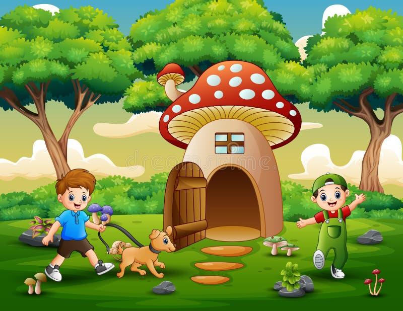 Kreskówki dwa chłopiec bawić się na fantazja domu ilustracja wektor