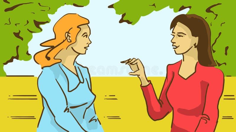 Kreskówki Dwa damy Opowiada Siedzieć Na ławce W parku ilustracja wektor