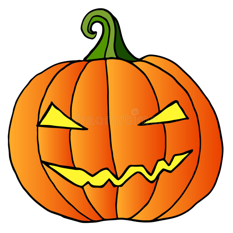 Kreskówki dyniowa twarz, szczęśliwy, szalony Halloween, odizolowywający royalty ilustracja