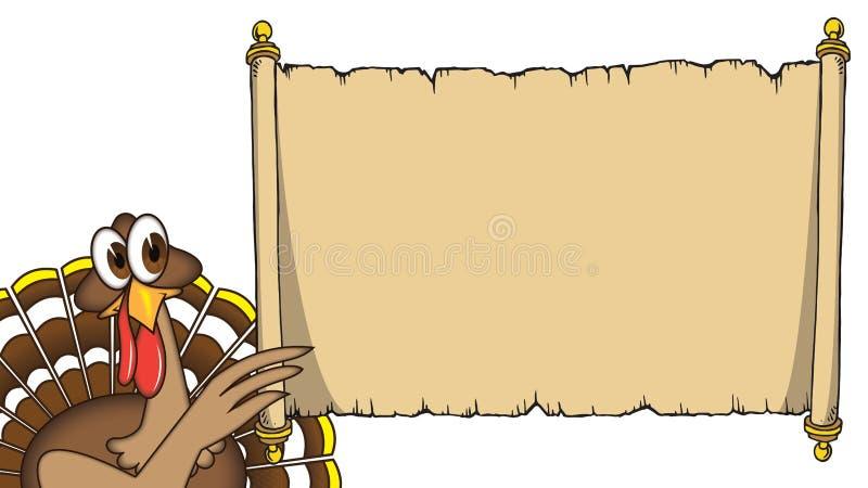 Kreskówki dziękczynienia indyk trzyma up szyldowym ilustracji