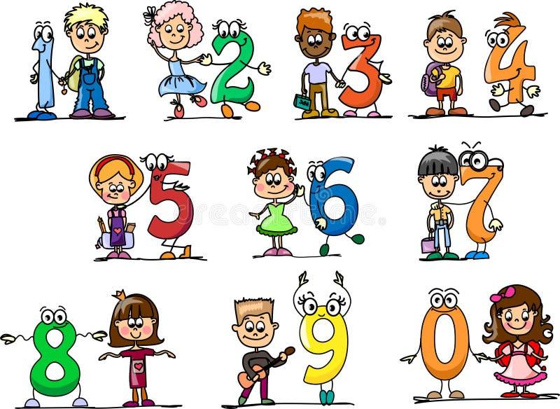 kreskówki dzieci liczb wektor royalty ilustracja