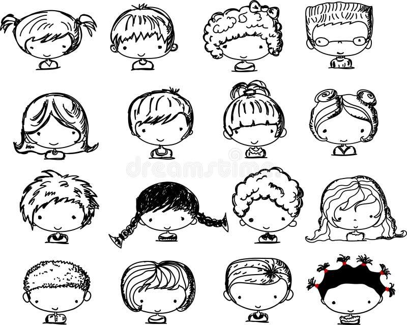 kreskówki dzieci twarzy wektor ilustracja wektor