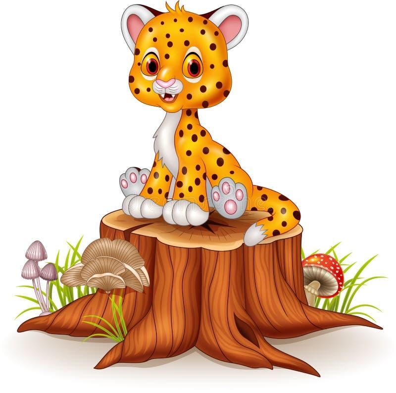 Kreskówki dziecka geparda szczęśliwy obsiadanie na drzewnym fiszorku ilustracji