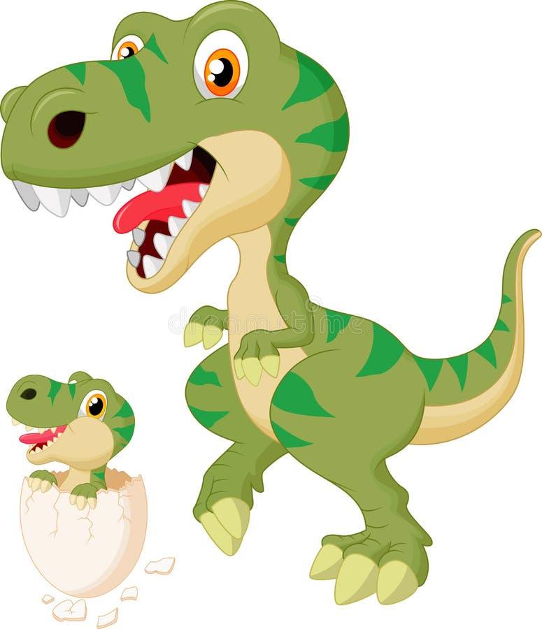 Kreskówki dziecka i matki dinosaura kluć się ilustracja wektor