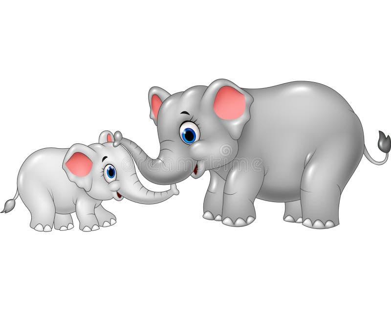 Kreskówki dziecka i matki słonia więzi uczuciowa związek royalty ilustracja