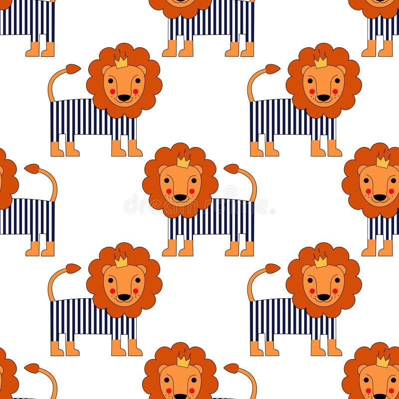 Kreskówki dziecka lwa bezszwowy wzór Śliczny zwierzęcy wektorowy tło royalty ilustracja