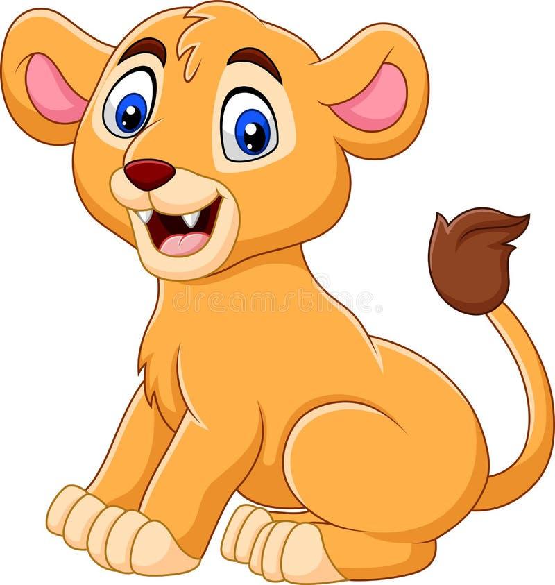 Kreskówki dziecka lwica odizolowywająca na białym tle ilustracja wektor