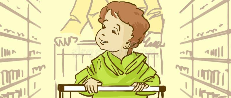 Kreskówki dziecka obsiadanie W supermarketa tramwaju royalty ilustracja