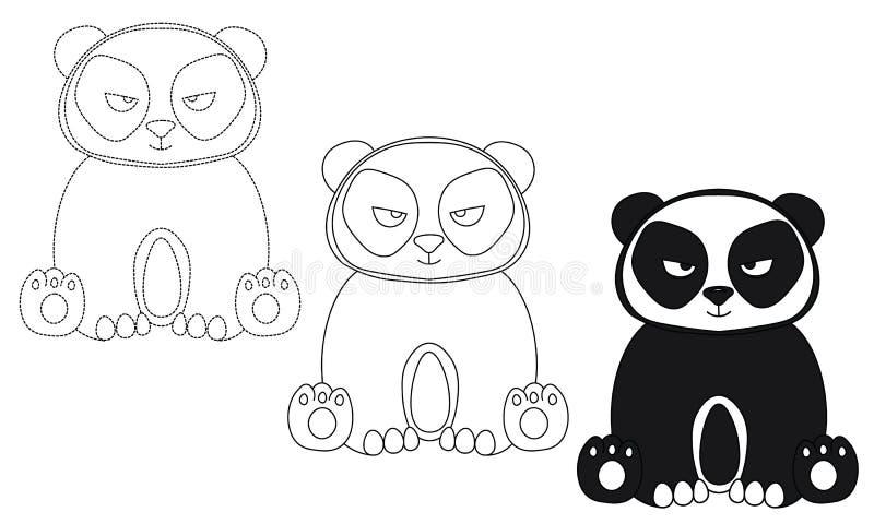 Kreskówki dziecka twarzy pandy czarny i biały ilustracyjny szablon royalty ilustracja