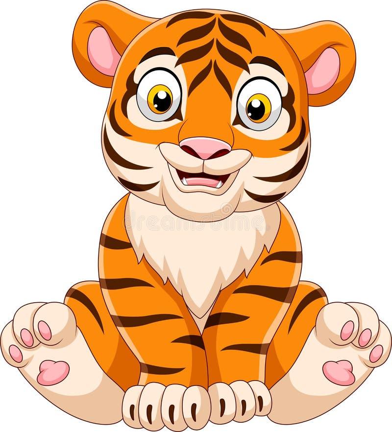 Kreskówki dziecka tygrysa obsiadanie ilustracja wektor