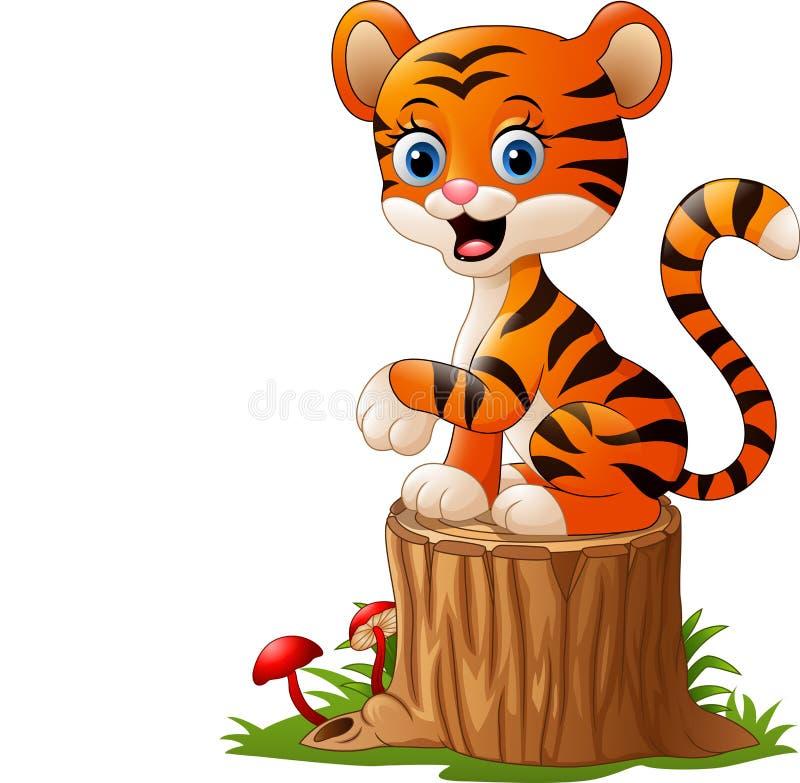 Kreskówki dziecka tygrysa obsiadanie na drzewnym fiszorku royalty ilustracja