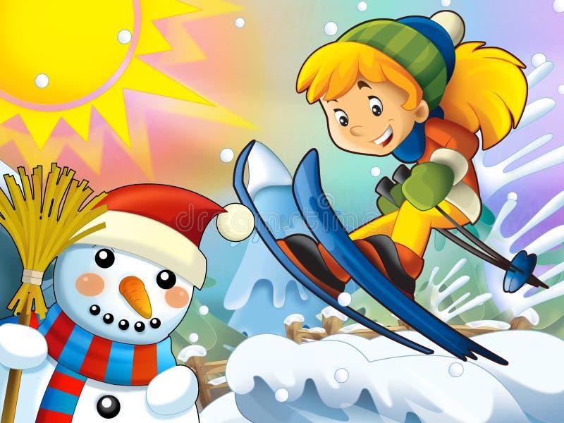 Download Kreskówki Dziecka Zjazdowy Skok Z Boże Narodzenie Charakterami - Ilustracji - Ilustracja złożonej z christmas, kreskówka: 28974855
