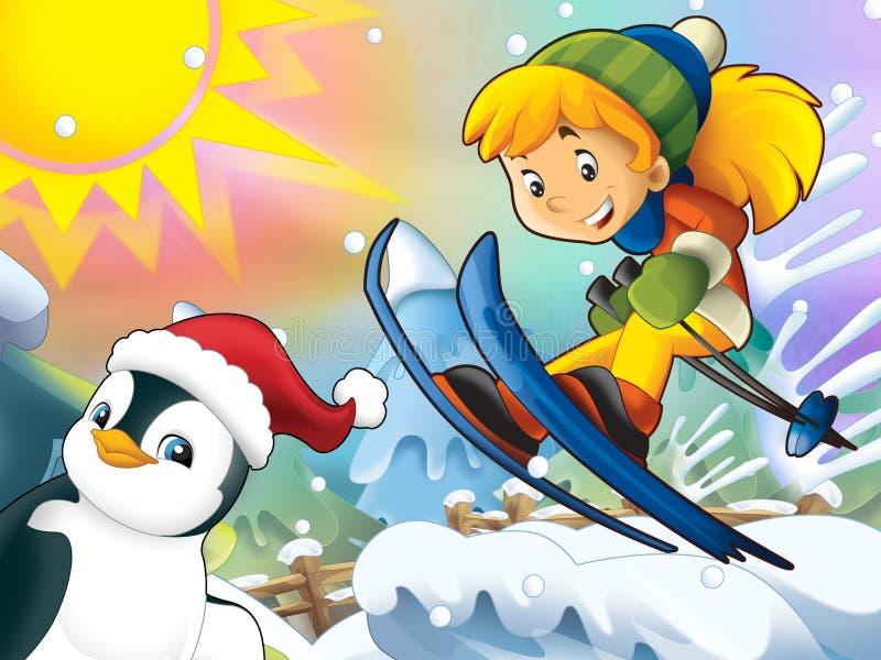 Download Kreskówki Dziecka Zjazdowy Skok Z Boże Narodzenie Charakterami - Ilustracji - Ilustracja złożonej z świętowanie, dziewczyna: 28974896