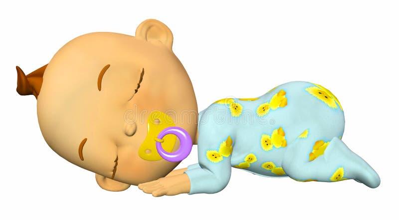 kreskówki dziecko śpi royalty ilustracja