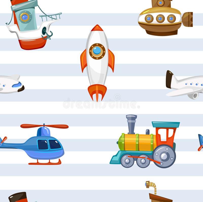 Kreskówki dziecko bawi się tapetę z pasiastym tłem Kolorowa i śliczna zabawka samolotu pociągu statku kosmicznego helikopte royalty ilustracja