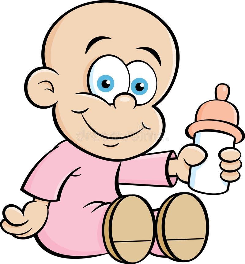 Kreskówki dziecko Trzyma dziecko butelkę ilustracji