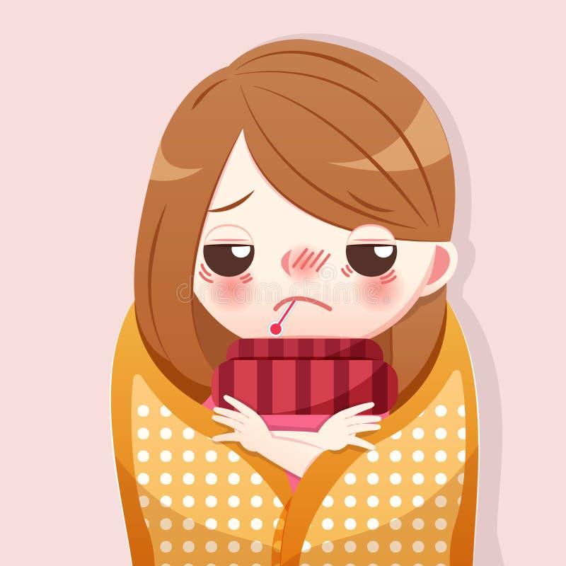 Kreskówki dziewczyna dostaje febrę ilustracja wektor
