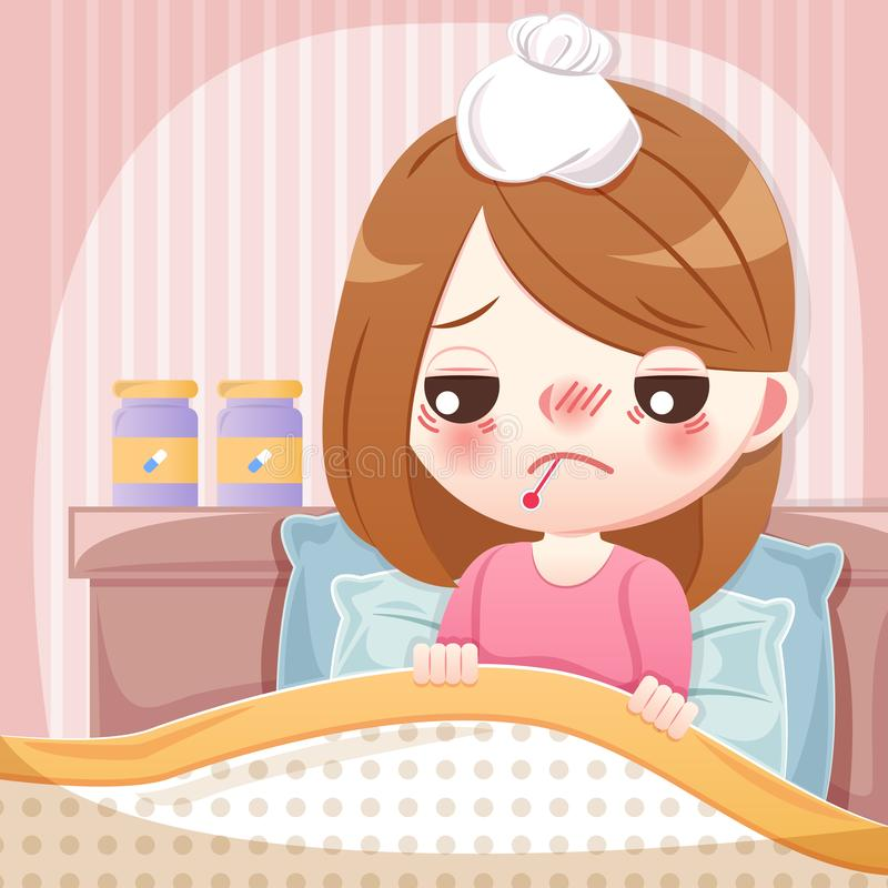 Kreskówki dziewczyna dostaje febrę ilustracji