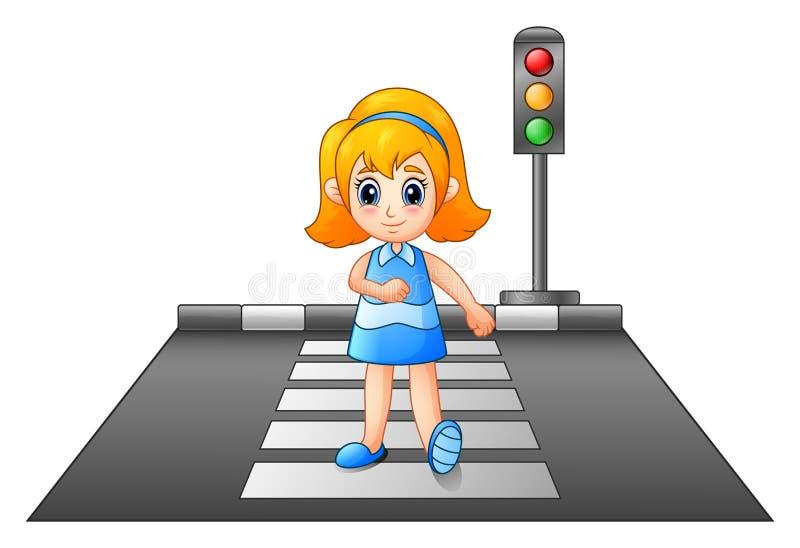 Kreskówki dziewczyna krzyżuje ulicę ilustracja wektor