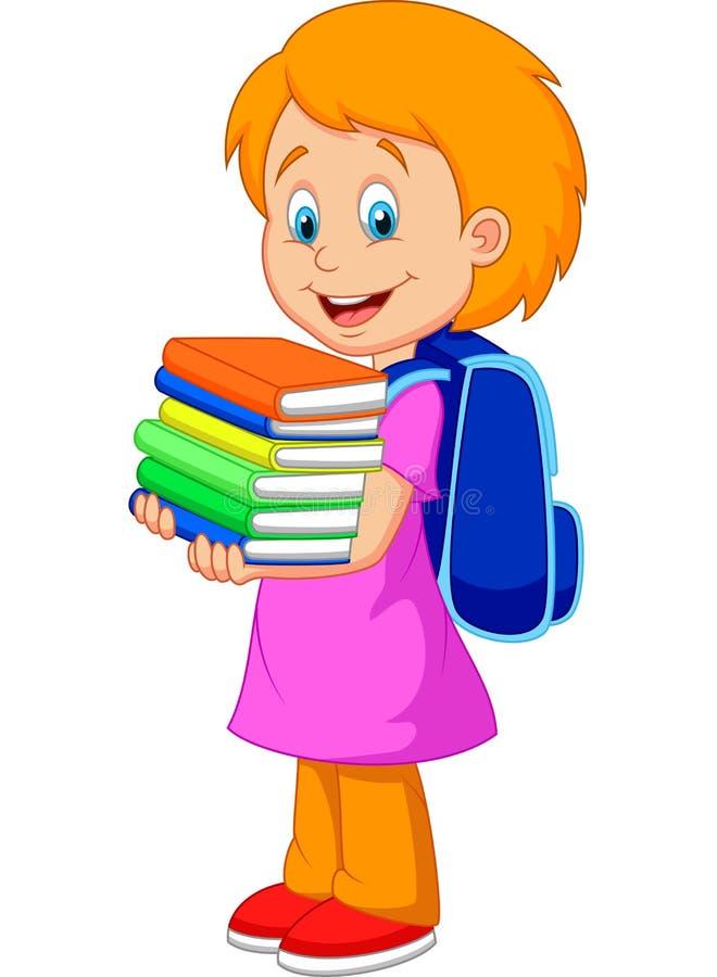 Kreskówki dziewczyna przynosi stos książki ilustracji
