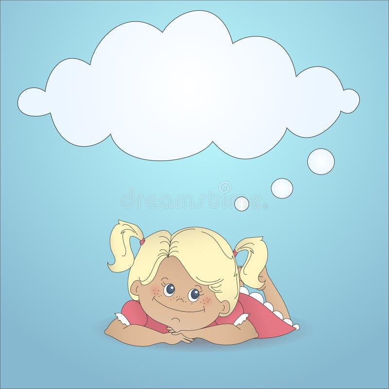 Kreskówki dziewczyna target830_0_ z myśli bąblem ilustracji