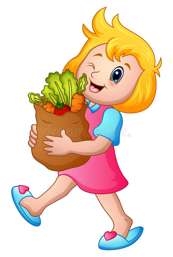 Kreskówki dziewczyna trzyma papierową torbę sklepy spożywczy z zdrowymi warzywami royalty ilustracja