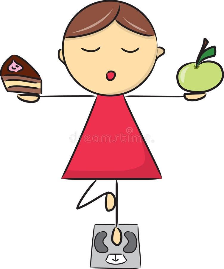 Kreskówki dziewczyna w joga pozie dalej waży ilustracja wektor