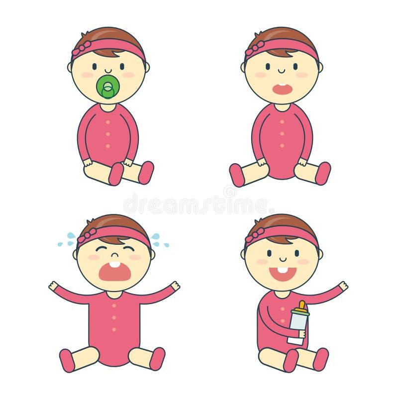 Kreskówki dziewczynki emoci set Nowonarodzonego dziecka lub niemowlaka emoticon royalty ilustracja