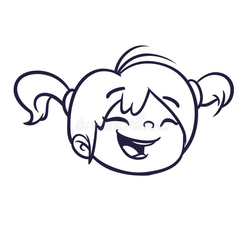 Kreskówki dziewczyny śliczna twarz zarysowywająca Wektorowa ilustracja mała dziewczyna ilustracja wektor