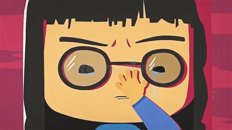 Kreskówki dziewczyny śliczny portret płacze ona i whiping jej ręką łzy Azjata stresował się anime dziewczyny z szkieł czuć smutny ilustracja wektor