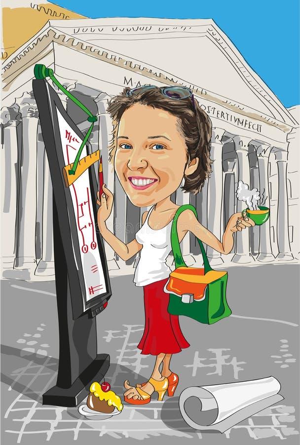 Kreskówki dziewczyny architekt w Włochy ilustracji