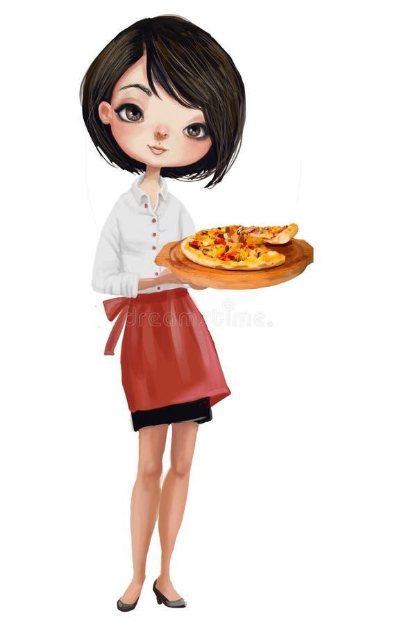 Kreskówki dziewczyny kelner royalty ilustracja