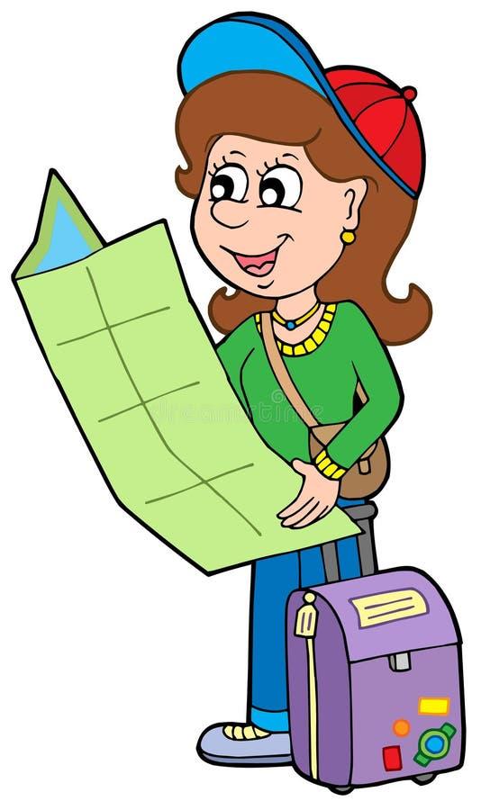 kreskówki dziewczyny podróżnik ilustracja wektor
