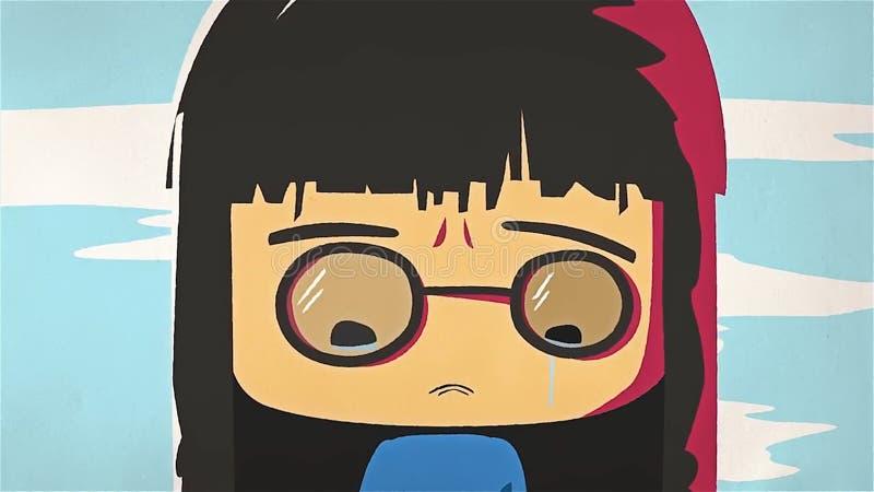 Kreskówki dziewczyny portreta śliczny płacz Azjata stresował się anime dziewczyny z szkieł czuć smutny i płakać, negatywne emocje ilustracja wektor