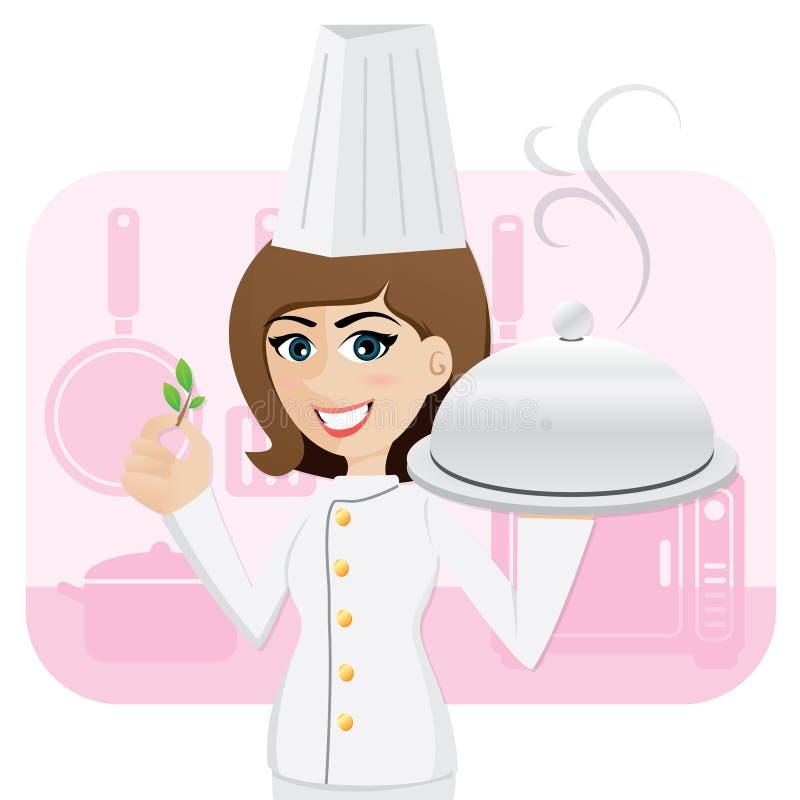 Kreskówki dziewczyny szefa kuchni porci jedzenie z ziele ilustracja wektor