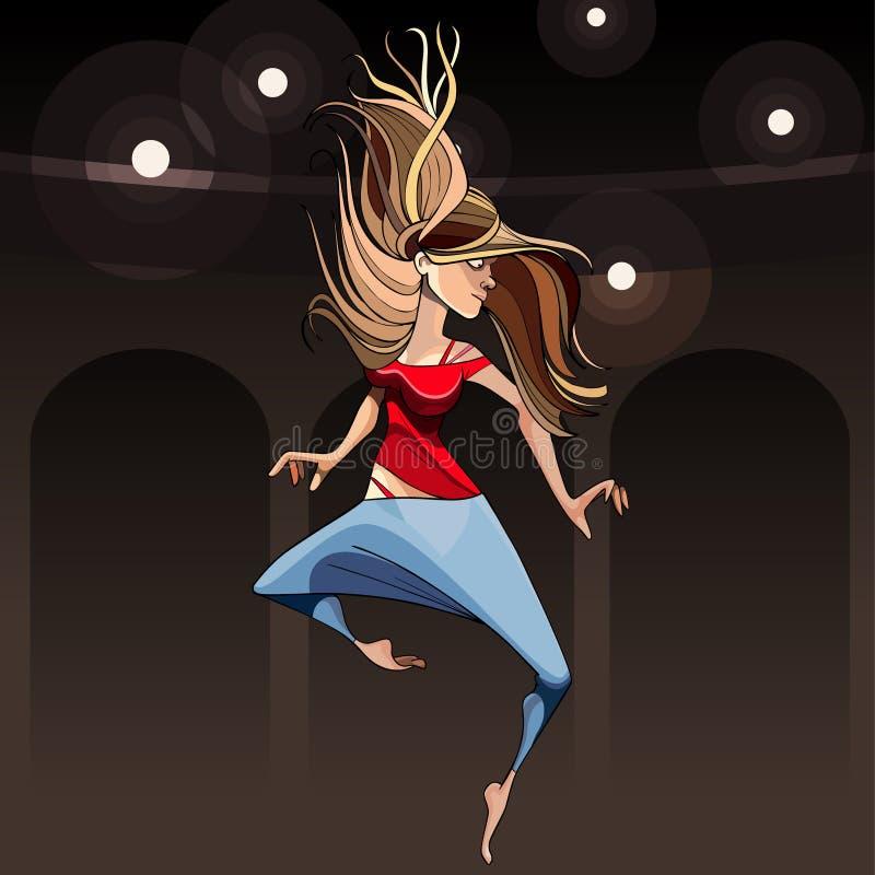kreskówki dziewczyny tancerza nowożytny doskakiwanie w piruecie royalty ilustracja