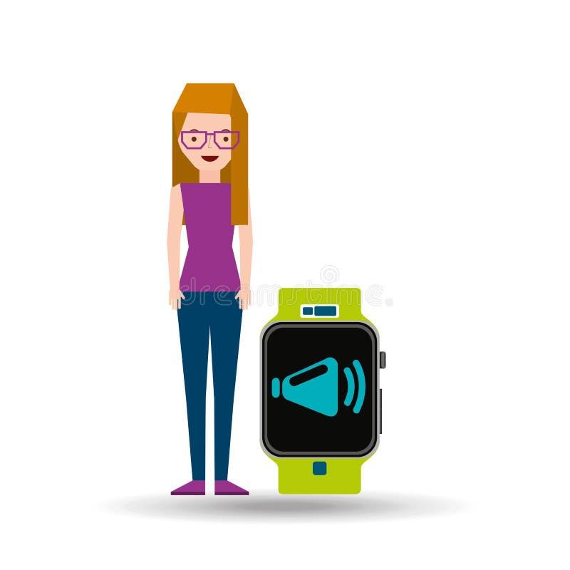 Kreskówki dziewczyny zegarka app megafonu mądrze projekt ilustracja wektor