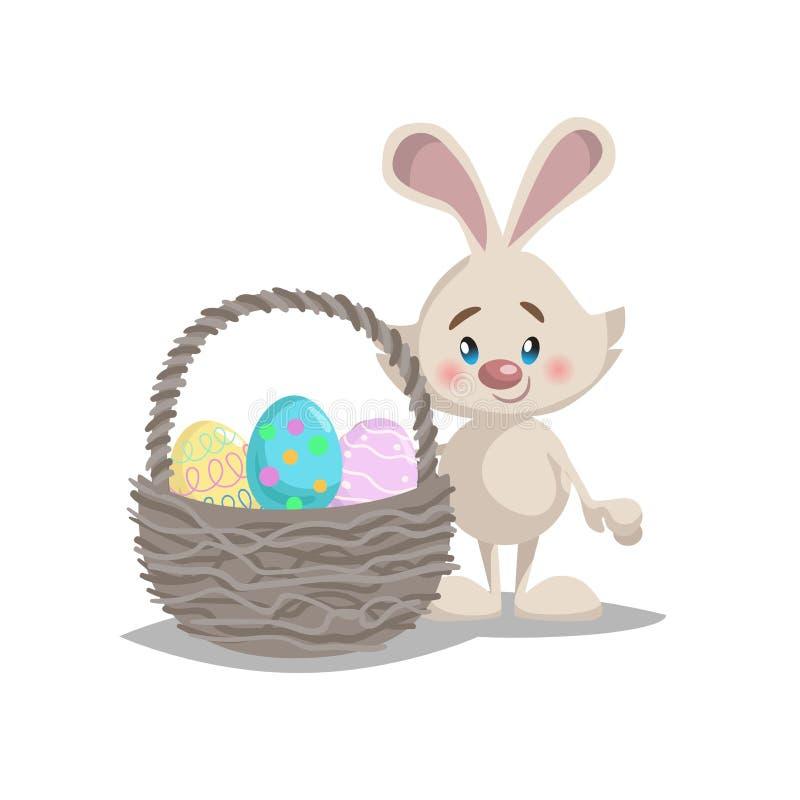 Kreskówki Easter śmieszny królik z dużym koszem i malującymi kolorowymi jajkami Wiosna charakteru maskotka i sezonowa wektorowa i royalty ilustracja