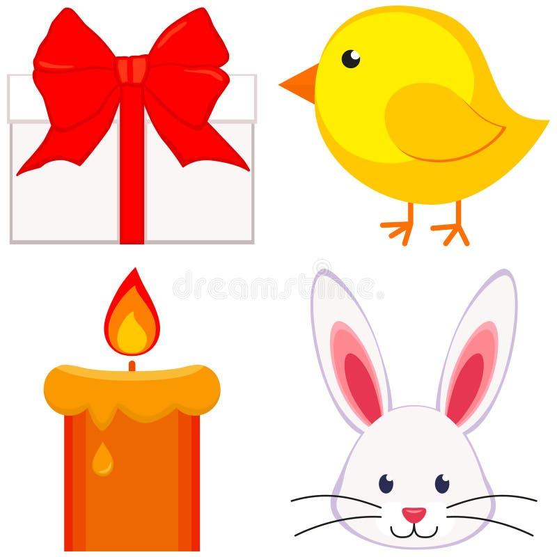 Kreskówki Easter ikony ustalonego kurczaka królika twarzy pisklęca świeczka, prezenta pudełko ilustracja wektor