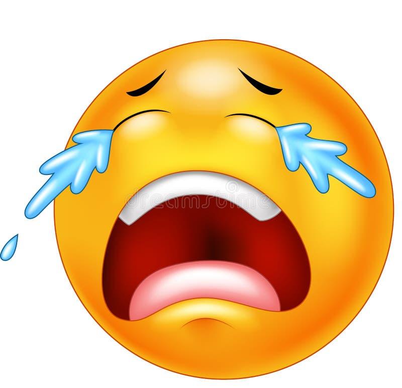 Kreskówki emoticon płacz z łzami, odosobnionymi na białym tle ilustracja wektor