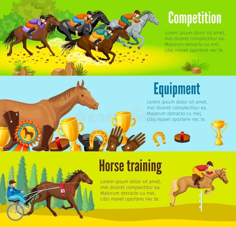 Kreskówki Equestrian Horyzontalni sztandary ilustracji