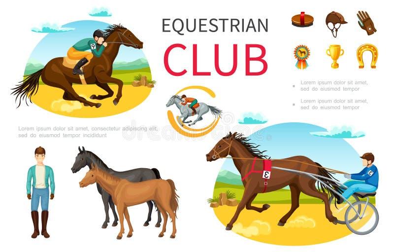 Kreskówki Equestrian sporta elementy Ustawiający ilustracja wektor