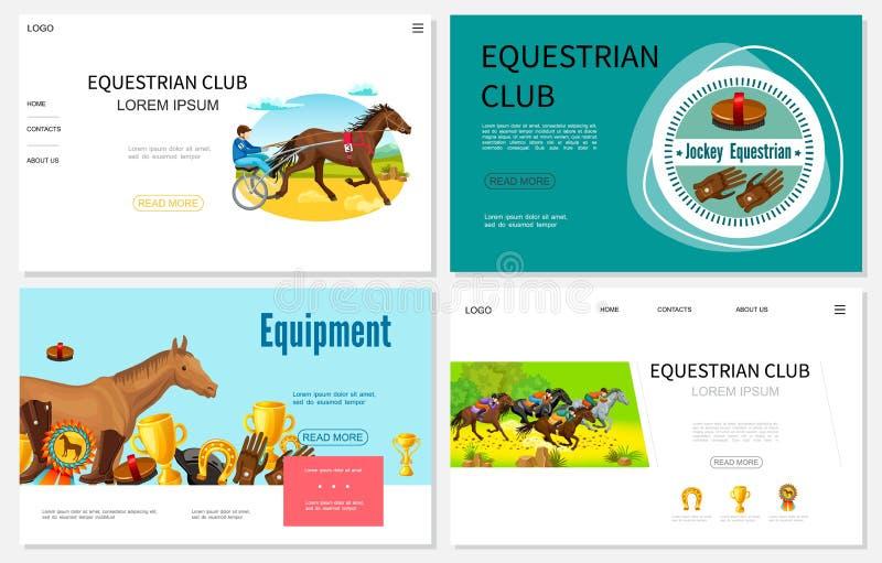 Kreskówki Equestrian sporta strony internetowe Ustawiać royalty ilustracja